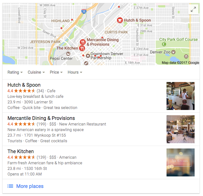 Google Local SEO Pack Results