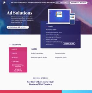 Pandora Website Example