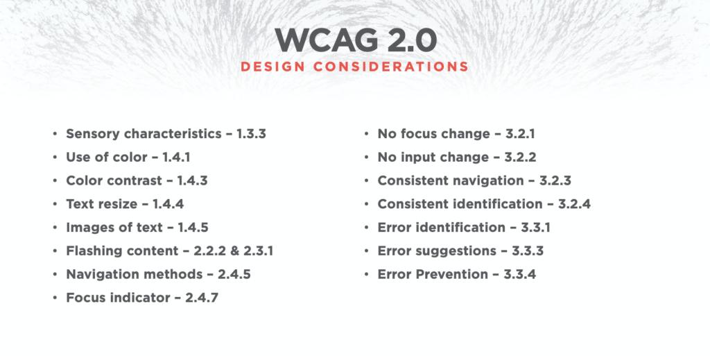 WCAG Design Considerations