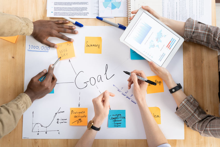 business people working together on goals