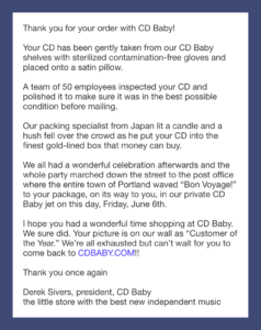 Example of Classic CDBaby Confirmation Email