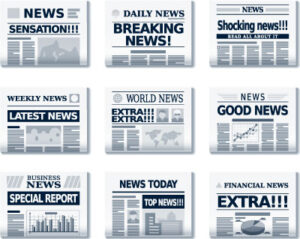Newspapers with headlines