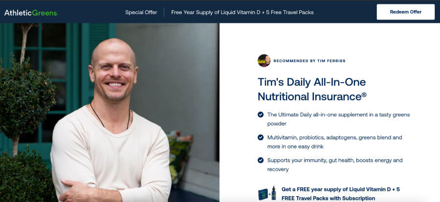 Tim Ferriss' offer with Athletic Greens