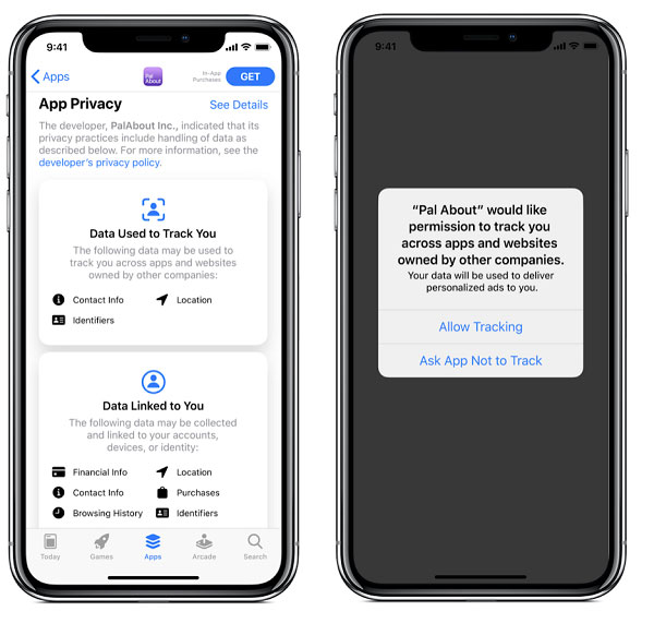 Two iphone screens showing users' new option to opt into mobile data tracking
