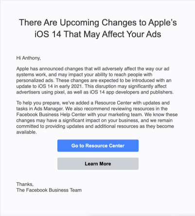 Facebook Resource Center Email